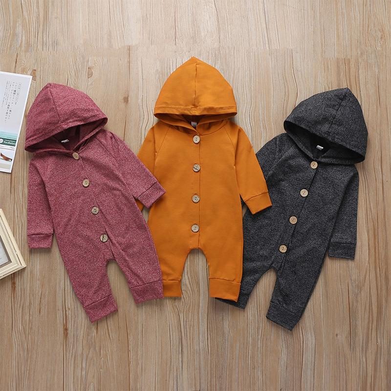 Solid Hoodie Jumpsuit for Baby
