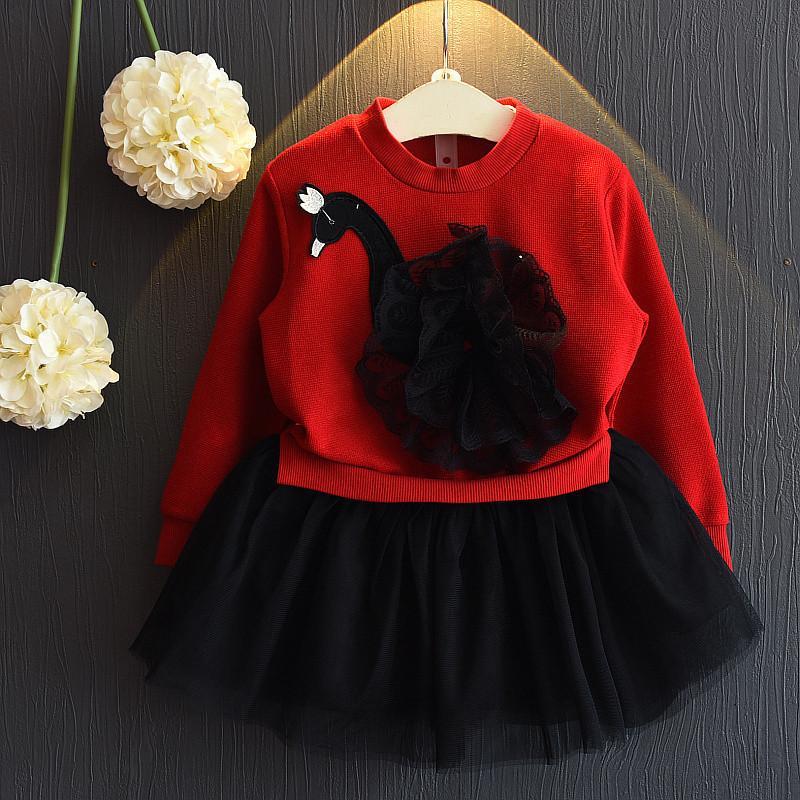 Swan Pattern Patchwork Tulle Dress for Toddler Girl