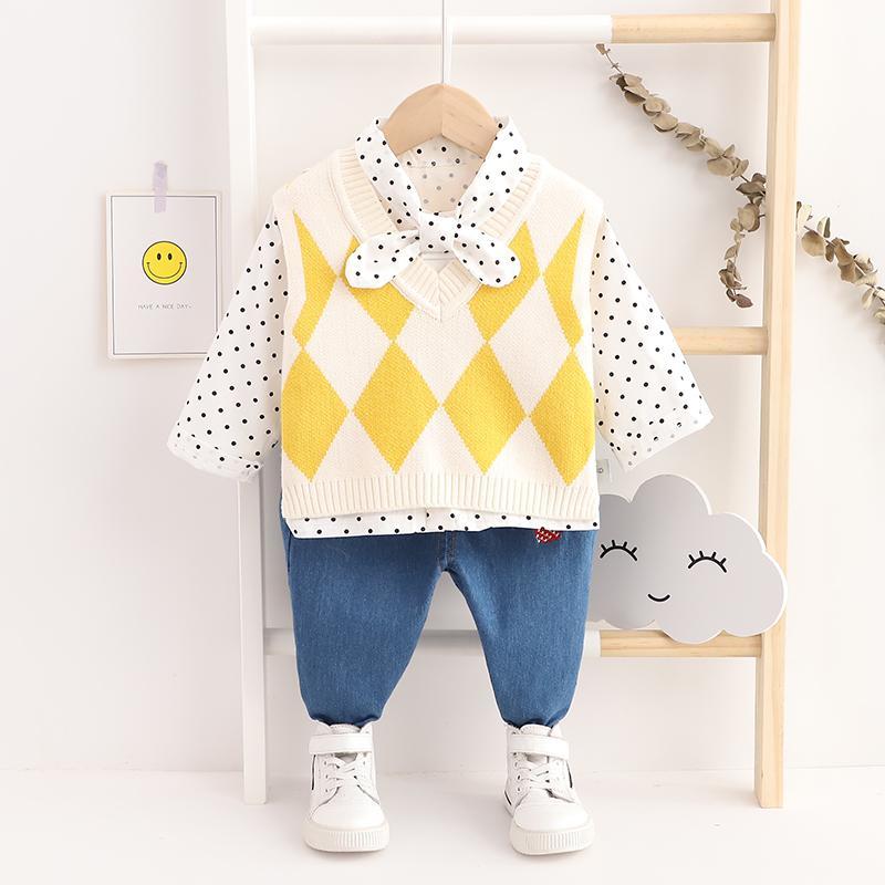 2-piece Polka Dot Tops & Jeans for Toddler Girl
