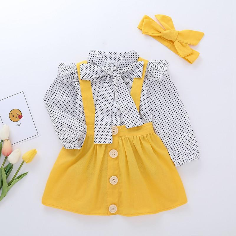 3-piece Polka Dot Blouse & Solid Strap Dresses & Headwear for Baby Girl