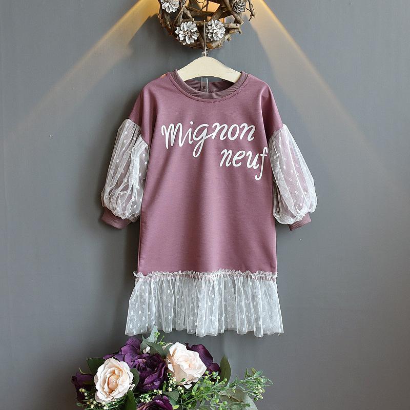 Letter Pattern Mesh Dress for Toddler Girl