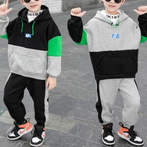 2-piece Color-block Pattern Hooded & Pants for Boy
