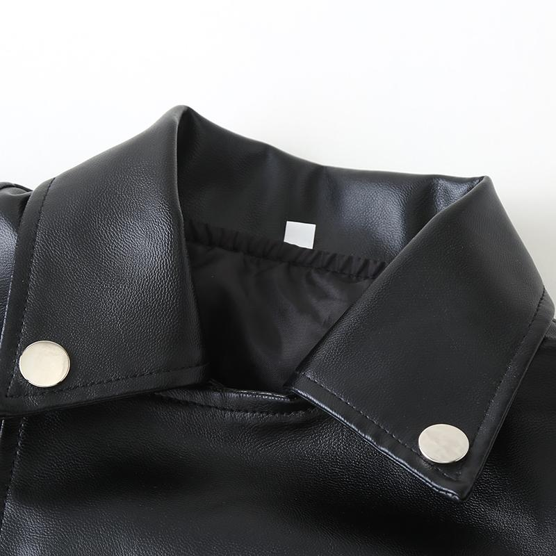Solid PU Leather Jacket for Toddler Boy