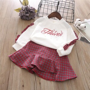 2-piece Plaid Pattern Pajamas Dress Set for Toddler Girl