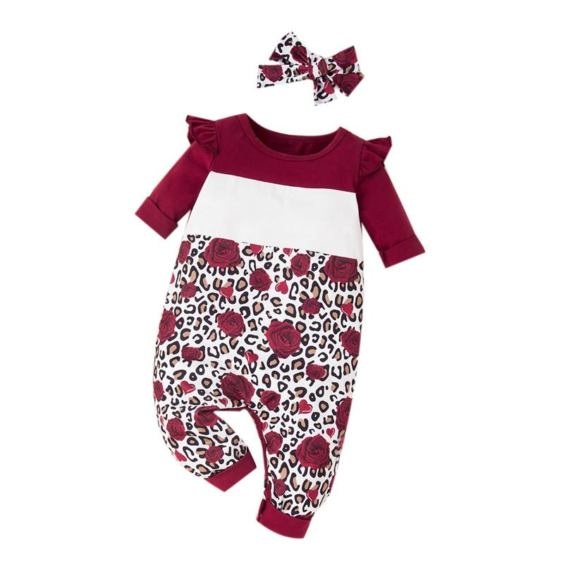 2-piece Floral Pattern Jumpsuit for Baby Girl