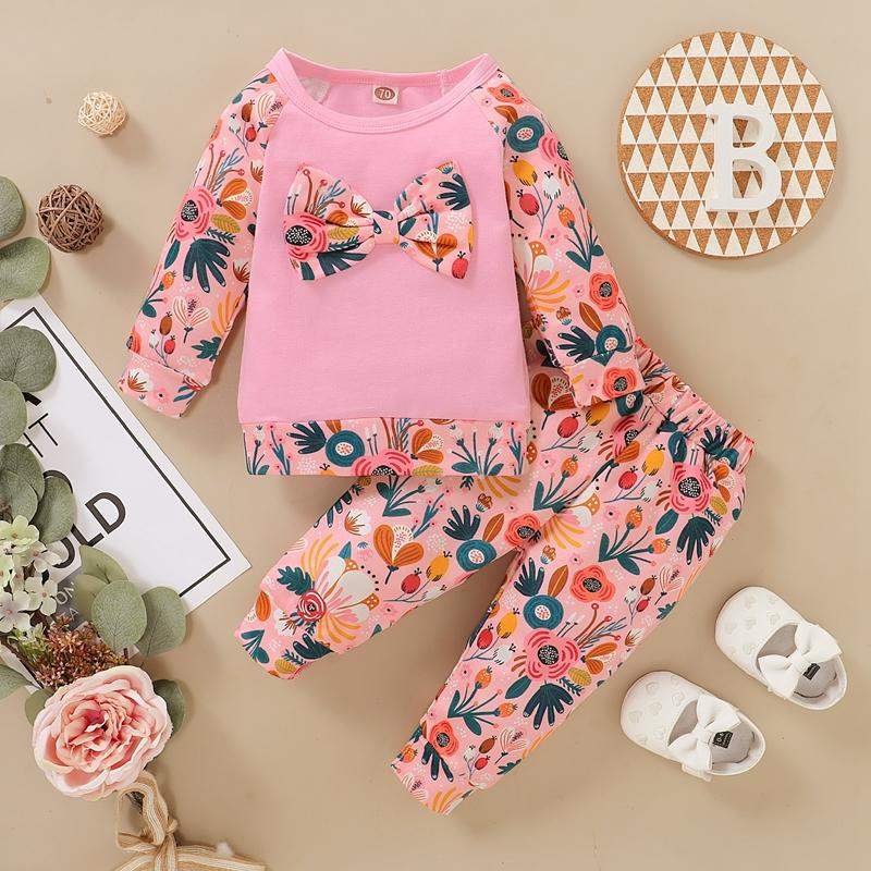 2-piece Bow Decor Floral Printed Sweatshirt & Pants for Baby Girl
