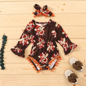 2-piece Thanksgiving Day Bodysuit for Baby Girl