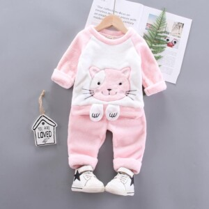2-piece Cartoon Design Sweatshirts & Pants for Toddler Girl