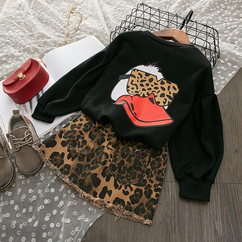 2-piece Leopard Pattern Dress Set for Toddler Girl