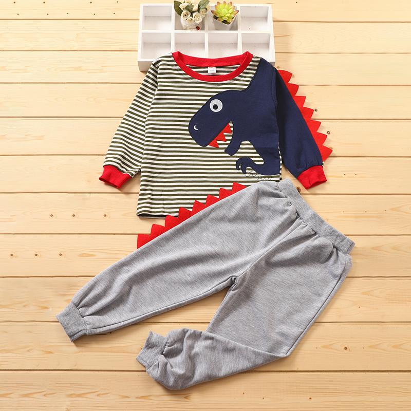 2-piece Dinosaur Pattern Suit for Toddler Boy