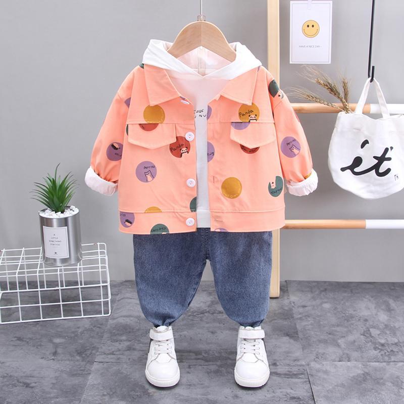 3-piece Polka Dot Coat & Jeans & Sweatshirt for Toddler Girl
