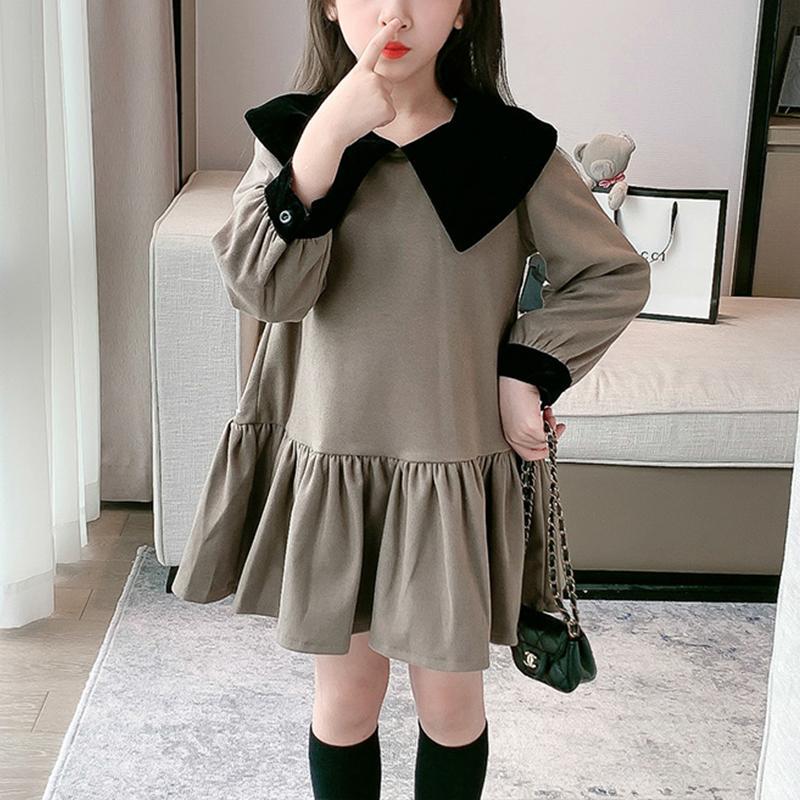 Fleece-lined Velvet Dress for Girl