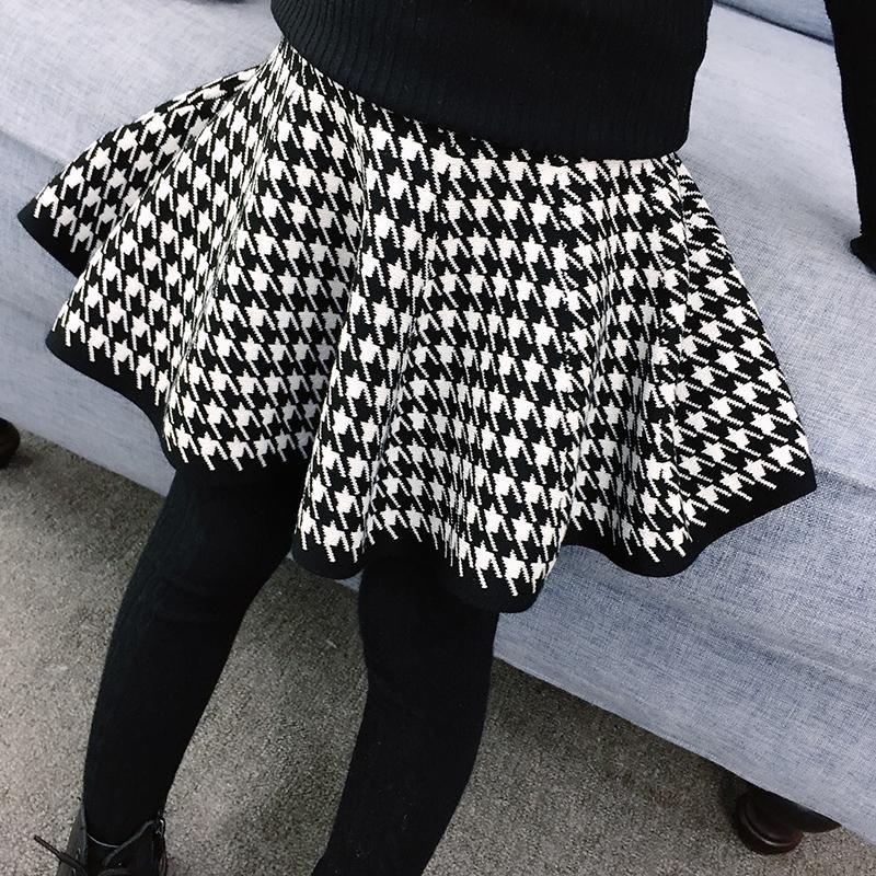 Houndstooth Pattern Skirt for Girl