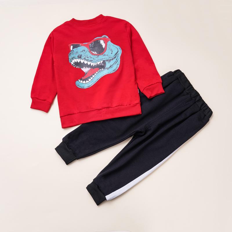2-piece Dinosaur Pattern Sweatshirts & Pants for Toddler Boy