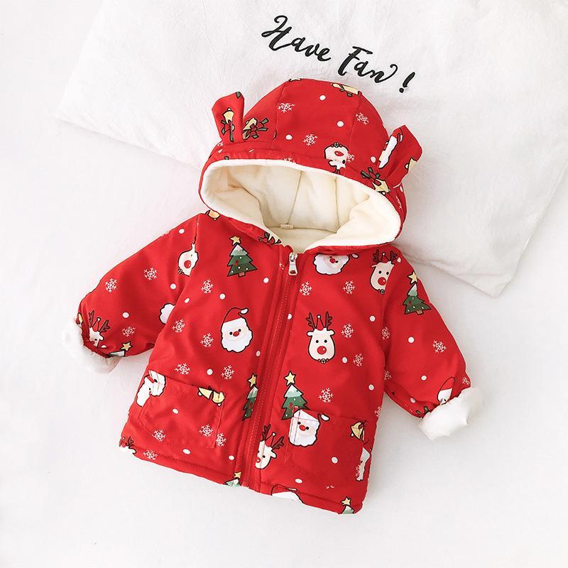 Christmas Fleece-lined Puffer Jacket for Toddler Girl