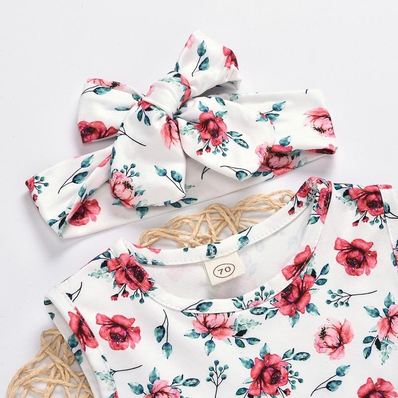 3-piece Floral Printed Dress & Shorts & Headband for Baby Girl