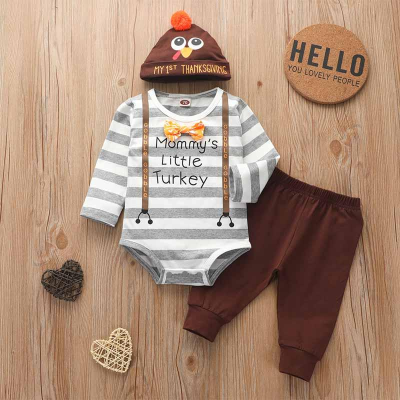 3-piece Thanksgiving Day Stripes Pattern Suit for Baby Boy