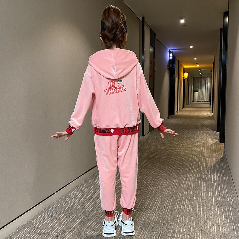 2-piece Letter Strawberry Pattern Hoodie &Pants for Girl