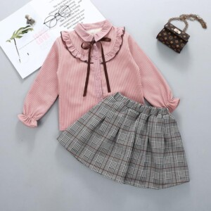 2-piece Ruffle Fleece-lined Shirts & Plaid Fleece-lined Skirt for Girl