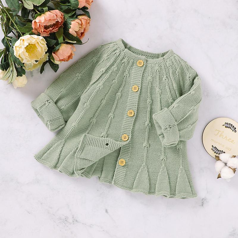 Solid Knitted Sweater for Baby Girl