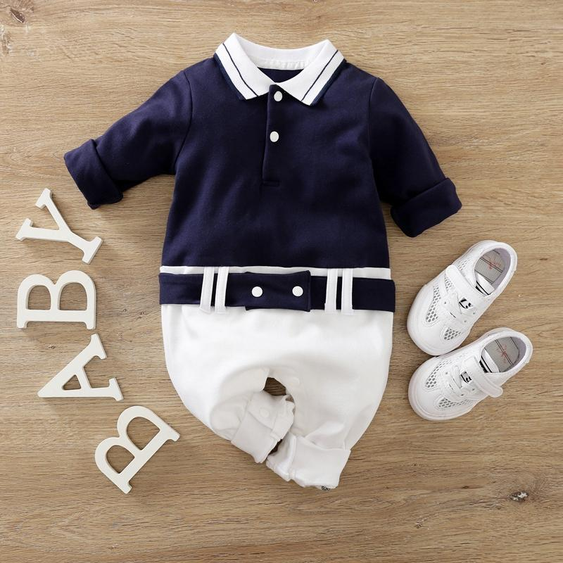 Gentleman Color-block Jumpsuit for Baby Boy