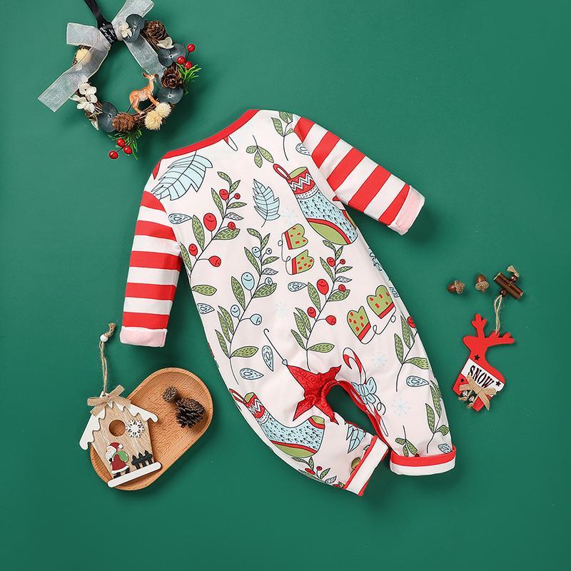 Christmas Cartoon Design Jumpsuit for Baby Girl