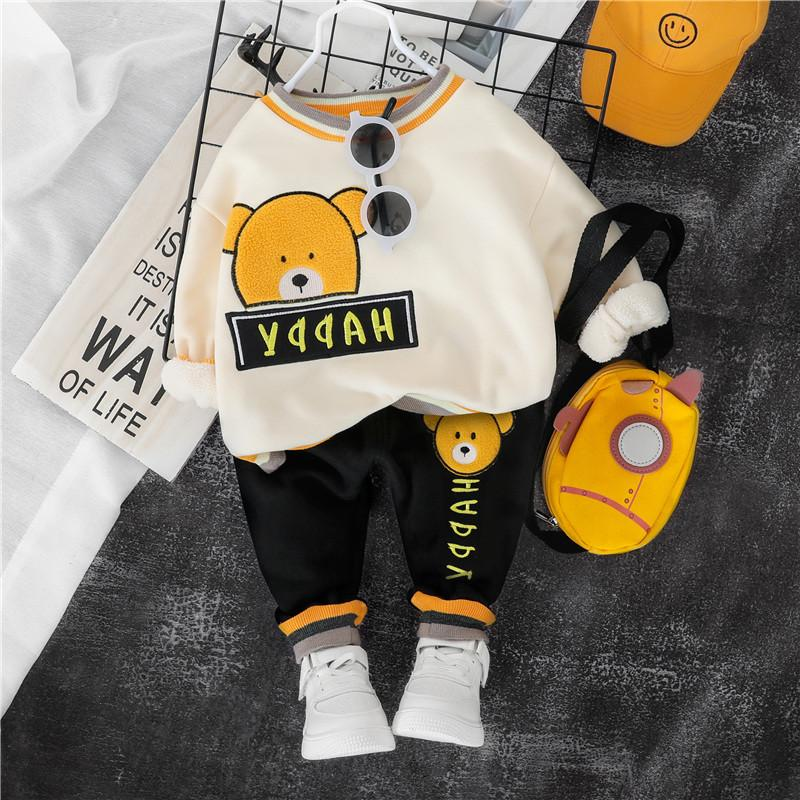 2-piece Bear Pattern Fleece-lined Suit for Toddler Boy