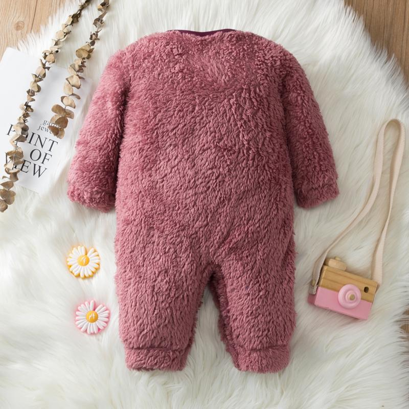 Fleece-lined Flannel Jumpsuit for Baby Girl