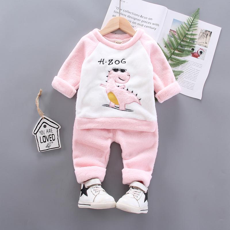 2-piece Winter Thick Dinosaur Pattern Sweatshirts & Pants for Toddler Boy