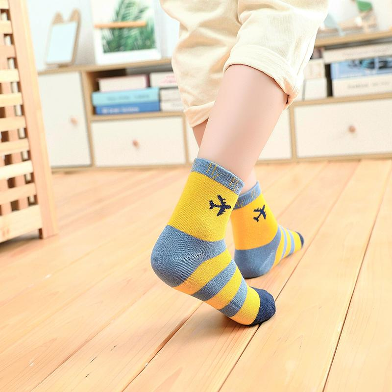 5-piece Cartoon Airplane Pattern Knee-High Stockings for Unisex