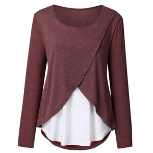 Layerd Long-sleeve Nursing Top