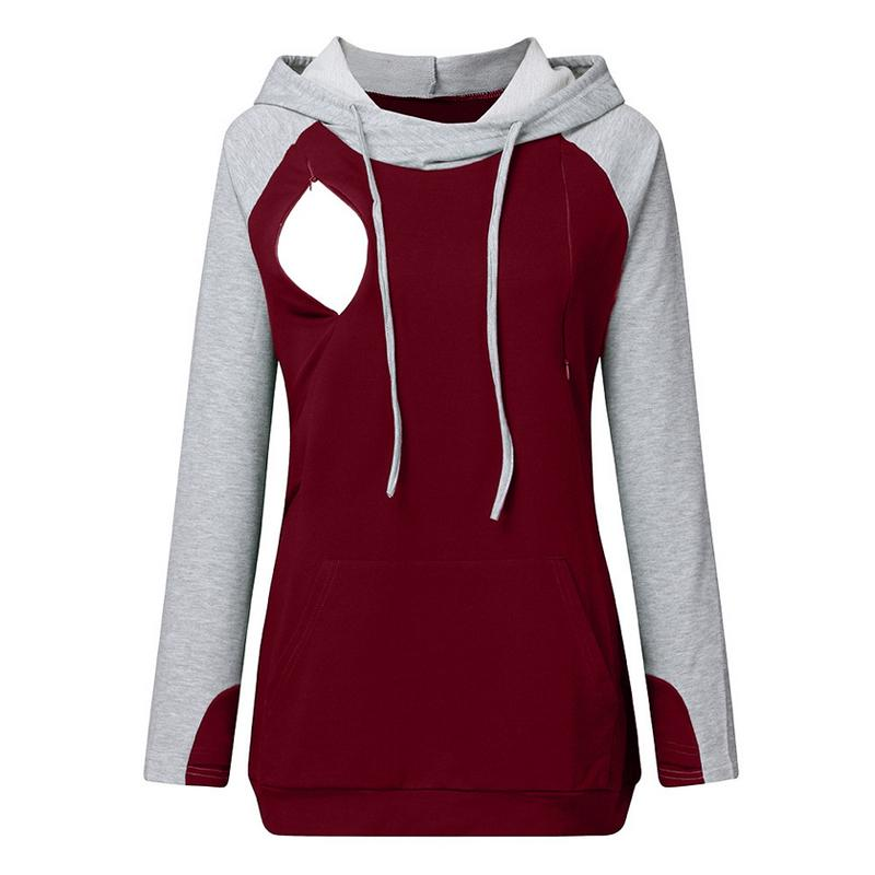 Colorblock Long-sleeve Nursing Hoodie