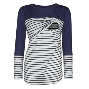 Long-Sleeve Striped Matching Nursing Top