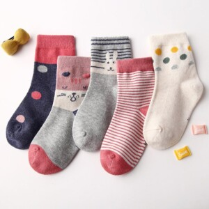 5-piece Knee-High Stockings for Girl