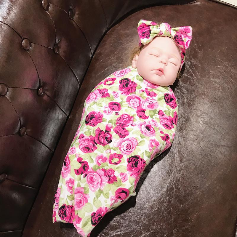 2-Piece Floral Wrapping Towel and Headband Set