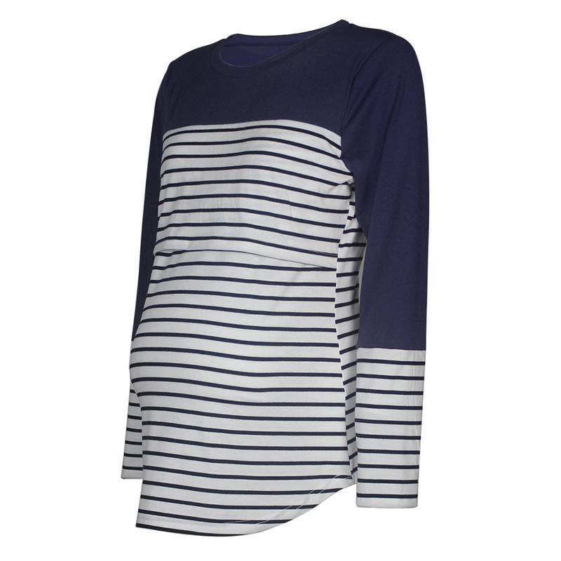 Long-Sleeve Striped Matching Nursing Top