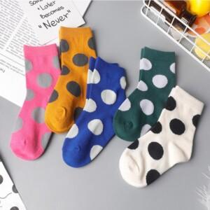 5-piece Polka Dot Pattern Knee-High Stockings for Unisex