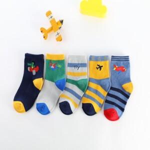 5-piece Cartoon Airplane Pattern Knee-High Stockings for Unisex
