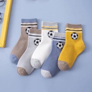 5-piece Football Pattern Breathable Socks