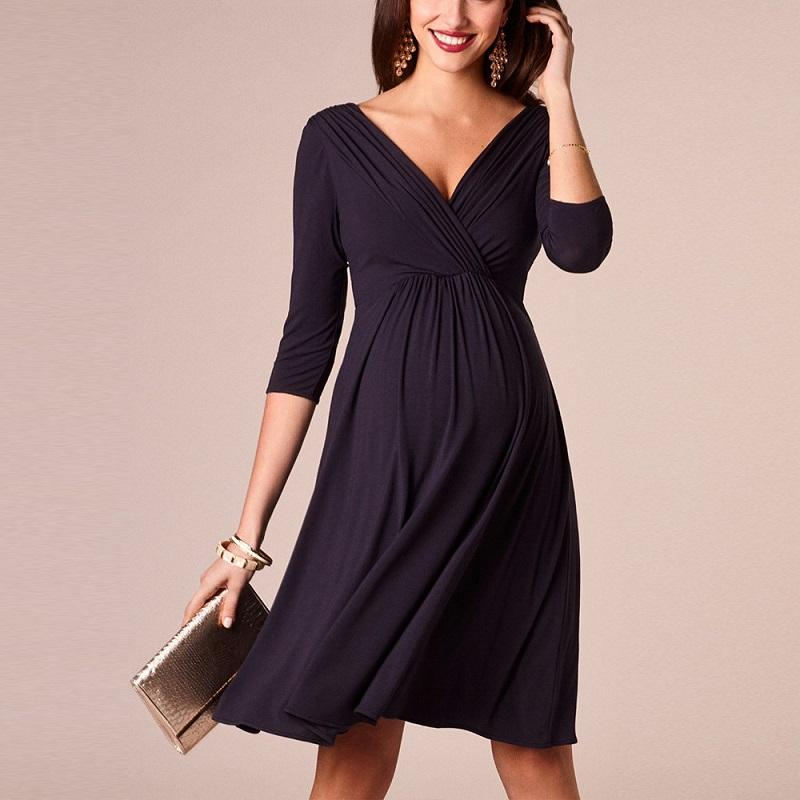 Cotton Solid Dress for Pregnant Mom