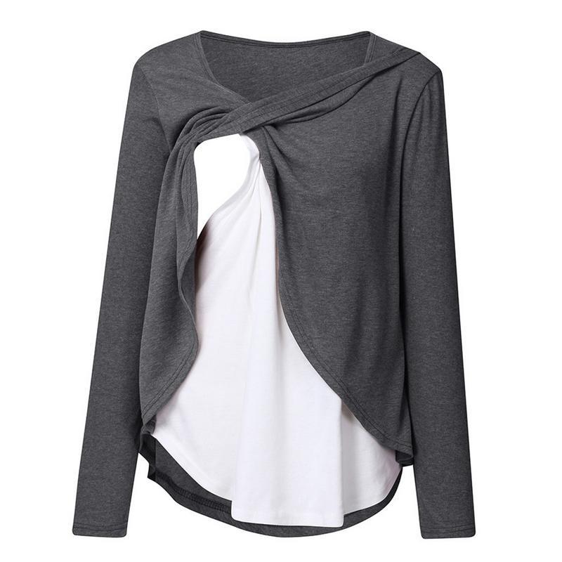 Layerd Long-sleeve Nursing Top