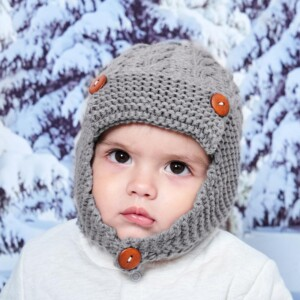 Buttons Woolen hat for 0-3 Years Old Baby