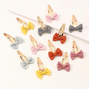 12-pieces Cute Bow Hair clip For Girls