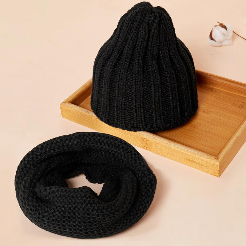 2-piece Solid Hat Scarf Sets