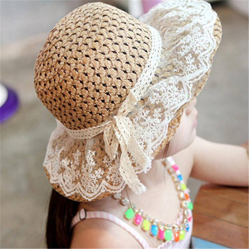 Bow Lace Straw hat For Children
