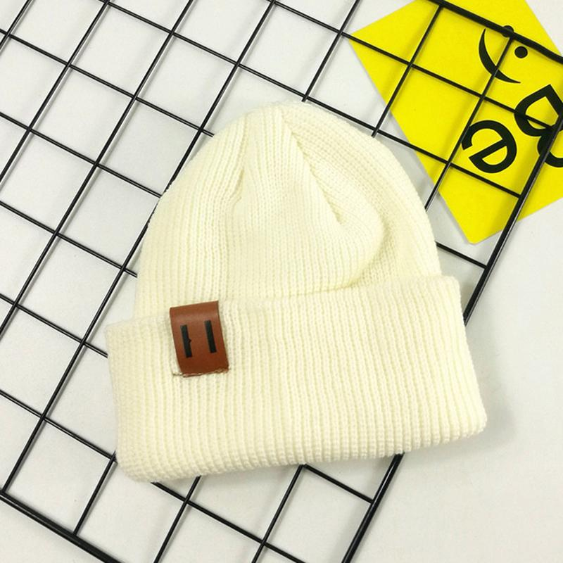 Solid Warm Skullies Beanie Caps Knitted Girls Winter Hats