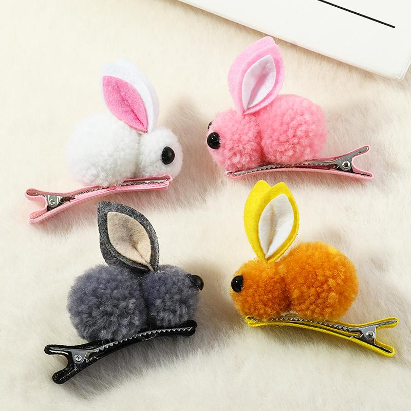 4-piece Hair Clip with Plush Rabbit
