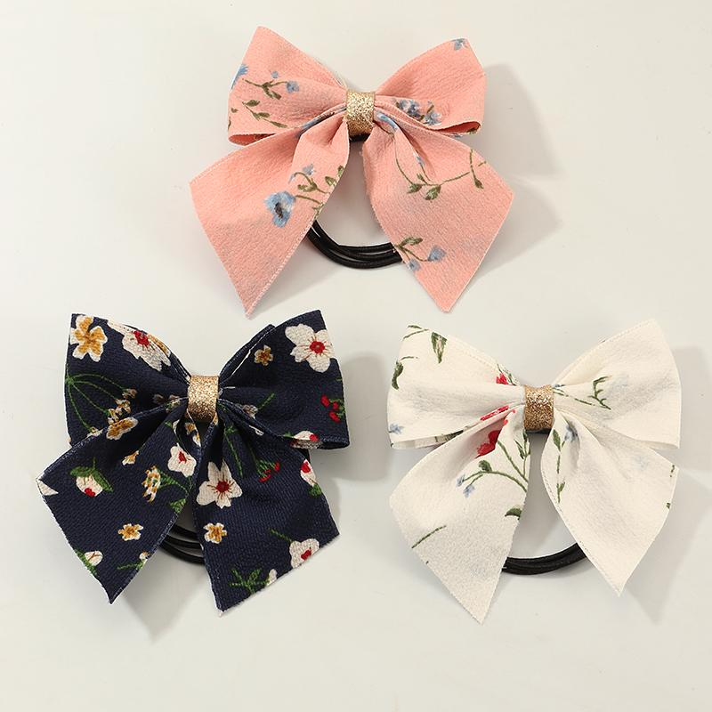 3-piece Floral Print Scrunchie Hair Rope for Girl