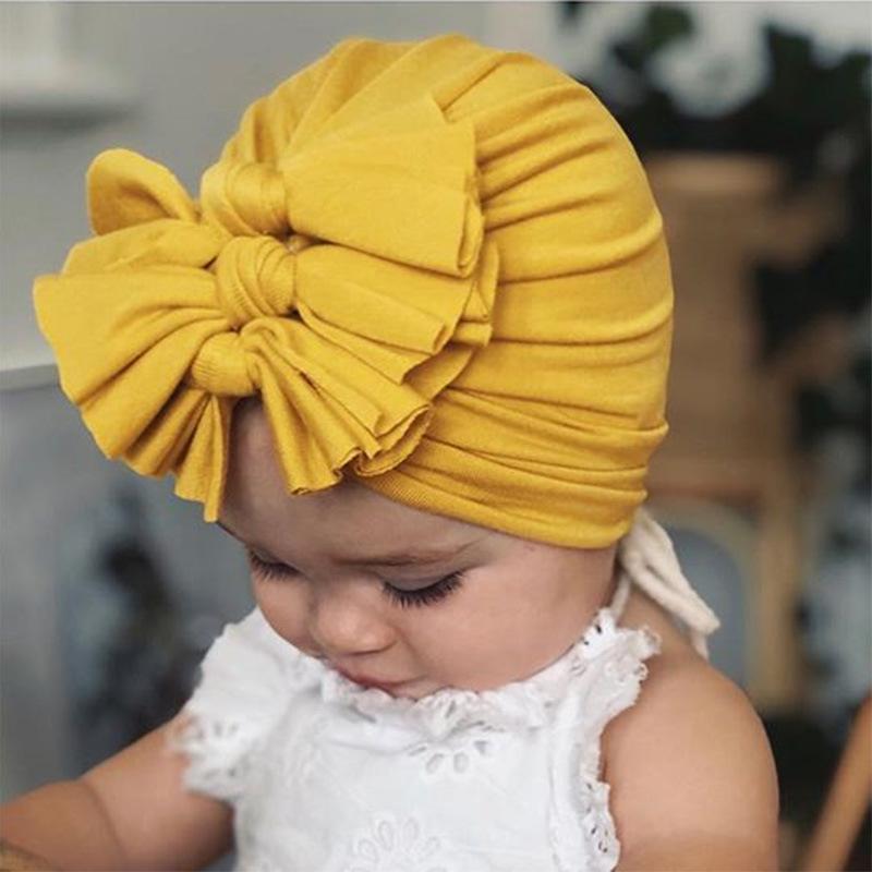 Cute Bownot Decoration Ruffled Head Cap