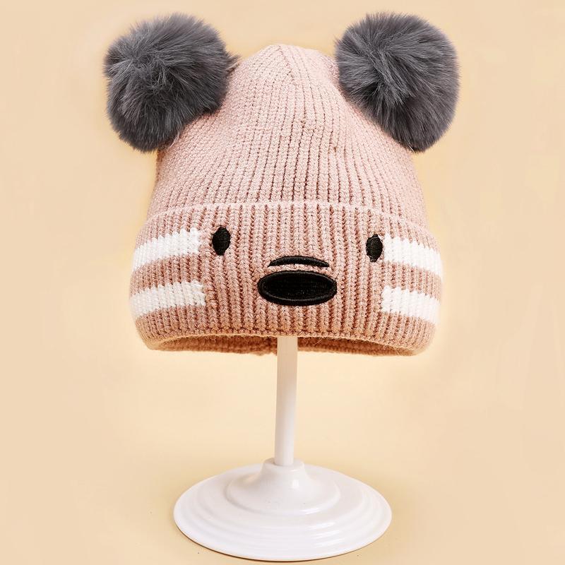 Bear Design Woolen hat for 0-3 Years Old Unisex